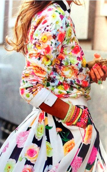 floral print acid colors